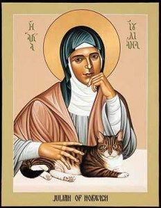 Julian of Norwich with her cat.