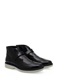Hogan - Route - H217 - HXM2170M39006RB999 - Brushed leather lace-up ankle boots with English-style wingtip perforations, exposed stitching, Velcro fastening on the front and ultralight two-toned outsole. Elegance and functionality, for an ever-impeccable look. - Brushed leather upperEnglish-style wingtip perforationsUltralight two-toned rubber outsoleArticle made from carefully selected skin, tanned through a special procedure to give light and shade effects to the product by