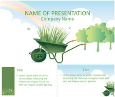 Nice PowerPoint template with an illustration of a green wheelbarrow and grass on a cloudy background. Use this theme for presentation on gardening, environment, earth day, etc. Ppt Template, Templates, Public Records, Earth Day, Company Names, Lorem Ipsum, Projects To Try, Presentation, Environment