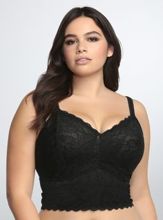 Sexy and stretchy, this seductive bralette is an alluring way to switch up your look. Black lace with a scalloped trim kicks up this semi-sheer beauty to another level. No underwire or padding. I just want one bralette. Plus Size Bra, Plus Size Lingerie, Plus Size Corset, Curvy Fashion, Plus Size Fashion, Womens Fashion, Young Fashion, Fashion Wear, Push Up Strapless Bra