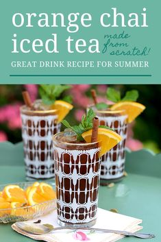 Orange Chai Iced Tea will make your summer cool and sweet. There isn't a more classic way to relax with friends on a hot day. Iced Tea Cocktails, Cocktail And Mocktail, Fun Cocktails, Party Drinks, Tea Party, Drink Recipes Nonalcoholic, Best Cocktail Recipes, Yummy Drinks, Tea Recipes