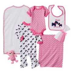 Featuring 9 darling pieces, this girls' Baby Gear set is perfect for any new mom. In pink/multi. Scottie Dog, Mom Style, Baby Sleep, Baby Gear, New Moms, Mom And Dad, Rompers, Theme Bedrooms, Mom Fashion