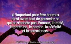 Citation amour : L'important pour être heureux c'est avant tout de posséder ce qui ne s'achète pas: ...
