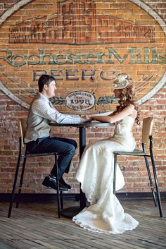 Real Weddings: Erica and Derrick's Michigan Brewery Wedding.I would love my reception at a brewery! Wedding Photo Booth, Wedding Photos, Bridal Pics, Craft Beer Wedding, Michigan Wedding Venues, Alternative Wedding Dresses, Real Couples, Budget Wedding, 2017 Wedding