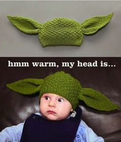 yoda hat, its adorable...my son loved yoda in the very first ever Star Wars movie. I can't wait till he has babies so I can make this hat for his baby!!