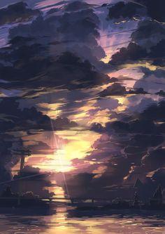 「夕焼け」/「幻想絵風」のイラスト [pixiv]  (via http://www.pixiv.net/member_illust.php?mode=medium&illust_id=42754691 )