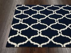 "Homespun Hawa Moroccan Trellis Navy Rug | Contemporary Rugs Dimensions: 8'6"" x 11'6"" Price: $323 Material: Wool Area: Living Room & Dining Possibly  5'x8': $132"