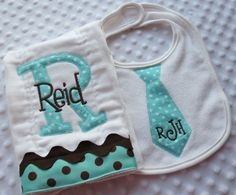 Set of ONE Appliqued Neck Tie BiB and ONE Personalized BuRP CLoTH embroidered with baby boy's Initial and name - Parenting Baby Embroidery, Embroidery Monogram, Machine Embroidery, Burp Rags, Burp Cloths, Applique Designs, Embroidery Designs, Trendy Baby, Baby Names