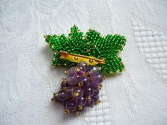 Viola ametista Seed Beads mazzo di uva spilla moderno Holiday