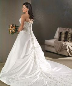 A-Line/princess Strapless Cathedral Bridal Gown at Storedress.com
