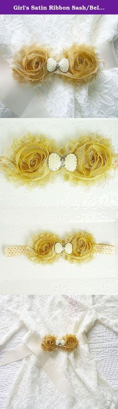 "Girl's Satin Ribbon Sash/Belt, Baby's Satin Ribbon Sash/Belt, Gold Shabby Chic Girl's Sash, Girl's Gold & White Christmas Sash, Baby's Gold Christmas Sash, Gold Flower Girl's Dress Sash/Belt. This wonderful White Satin Princess Dress Sash is a full 36"" so it can be tied in the back in a knot or bow. The double Shabby Chic Flowers have been centered on the Sash and sport a Pearl embellishment. Ends have been professionally treated to prevent fraying. A perfect finish for many of the dresses…"