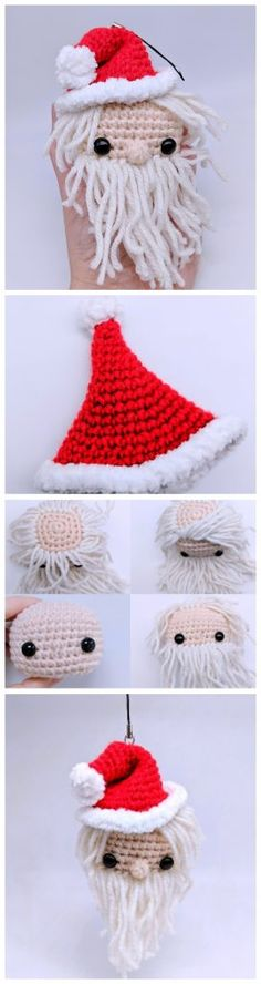 Amigurumi Crochet Cube Santa is here and he is excited to meet you all. He is happy to chill on your Christmas Tree or be attached to your bag to join you on your walks. Crochet Christmas Wreath, Crochet Christmas Decorations, Christmas Crafts, Santa Christmas, All Free Crochet, Learn To Crochet, Crochet Yarn, Applique Patterns, Knitting Patterns