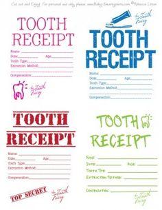 Tooth fairy receipts.