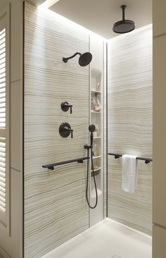Stone-patterned Choreograph walls and shower barres let you design an affordable personalized shower. http://www.us.kohler.com/us/Choreograph-Shower-Wall-and-Accessory-Collection/content/CNT116700120.htm?subSecId=CNT116700129
