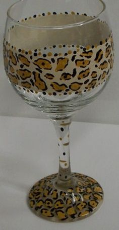 Wine Glass Painted Cheetah Print