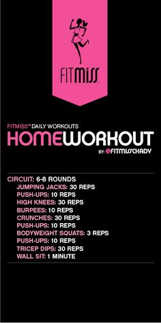home workout from FitMiss/Chady Dunmore