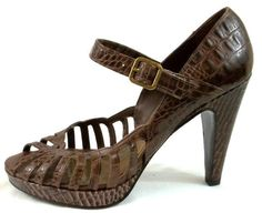 BCBG Shoes Womens Size 7.5 B Brown Leather Strappy Heels #BCBGirls #Strappy