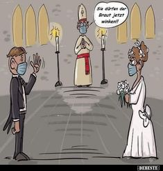 You can wave to the bride now ! Funny Quotes, Funny Memes, Hilarious, Jokes, Picture Story, Cartoon Characters, Fictional Characters, French Artists, Funny Cartoons