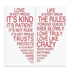 Love Is & Life Is I Typography Wall Décor (Set Of White - Love is & Life Is I wall art makes a perfect addition to any room in your home. This two piece set combines art, style and inspiration. Lettering is bold red caps in varying font sizes. Positive Quotes, Motivational Quotes, Funny Quotes, Inspirational Quotes, Amazing Quotes, Love Quotes, Trust Love, Police, Spanish Style Homes