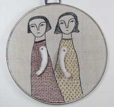 Cindy Steller hand embroidery with porcelain doll arms on Etsy.