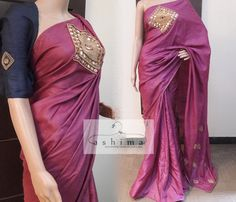 Code:0104173 - Tussar Saree With Hand Mirror And Bead Work, Price INR:9590/-