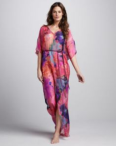 Rope-Waist Printed Maxi Coverup by Matthew Williamson at Neiman Marcus.