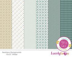 Green pattern paper set