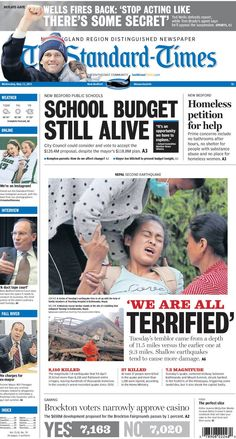 The Standard-Times. May 13, 2015.  City Council to view school budget; homeless reach out to New Bedford for help; Mayor Jon Mitchell will present the 2016 city budget; Brockton narrowly approves the casino and more.
