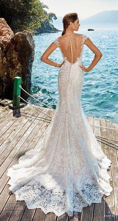 eddy k 2018 bridal cap sleeves illusion bateau sweetheart neckline full embellishment elegant fit and flare wedding dress sheer button back chapel train (26) bv