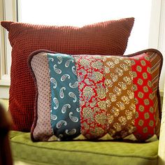 Tie Pillow: Stitch together some of Dad's old ties (the ones he's willing to get rid of, of course!) to create a personalized pillow he'd love to rest his back on. Source: Better Homes and Gardens