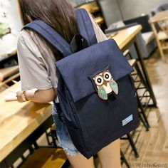 Wow~ Awesome Large Owl Solid School Rucksack Leisure Waterproof Travel Canvas…
