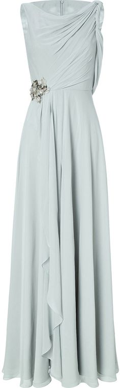 Jenny Packham Silk Draped Evening Gown with Embellished Detail