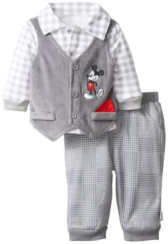 Disney Baby Boys Mickey Mouse 3-Piece Vest Set with Collared Shirt and Pants, Gray, 0 3 Months $21.99
