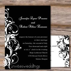 Wedding Invitations Online Capable White And Black Wedding Invitation - Black And White Wedding Invitations, Wedding Invitations Online, Classic Wedding Invitations, Cheap Wedding Venues, Colorado Wedding Venues, Damask Wedding, Purple Wedding, Wedding Renewal Vows, Low Cost Wedding
