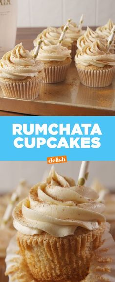 These RumChata Cupcakes have a boozy kick you can't resist. Get the recipe from … – Cupcakes Rezept Rumchata Cupcakes, Alcoholic Cupcakes, Drunken Cupcakes, Gormet Cupcakes, Liquor Cupcakes, Rum Cupcakes, Alcoholic Desserts, Coconut Cupcakes, Cheesecake Cupcakes