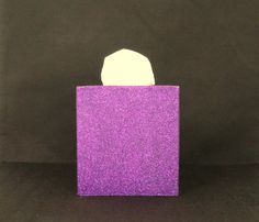 Purple Glittered Tissue Box Cover Paper by janetwhatmandesigns