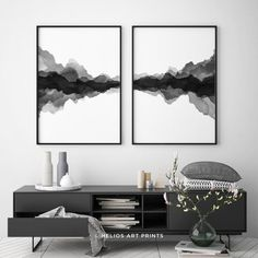 Set of 2 abstract minimalist landscape watercolours, Set of two black and white printable digital . Black And White Wall Art, Black And White Painting, Black And White Abstract, Black Framed Art, Watercolor Walls, Watercolor Landscape, Abstract Landscape, Watercolour Art, Urban Landscape
