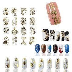 Roto - 1 Set of Gold 3d Nail Art Stickers Decals,108pcs/sheet Top Quality Metallic Flowers Mixed Designs Nail Tips Accessory Decoration Tool * Check out the image by visiting the link.