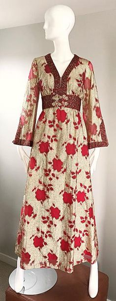 Vintage Bill Blass 1970s Red and Gold Silk Lurex Asian Inspired Vintage Gown 70s