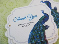 Personalized Favor Tags, Peacock Wedding Shower Tags, or Custom Product Tags: Personalized with Blue Vintage Illustration