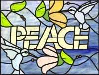 Peace and hummingbirds hummingbirds and flowers and the word peace stained glass pattern []$2.00 | PDQ Patterns