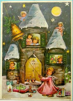 Antique Christmas Ornaments Paper and Spun Glass Advent Cards Adventskalender Adventkalender.by Lore Hummel Christmas Scenes, Christmas Past, A Christmas Story, Christmas Angels, Christmas Greetings, Primitive Christmas, Country Christmas, Outdoor Christmas, Christmas Christmas