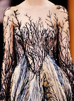 Wild vine dress with blended print skirt and sheer embroidered bodice panel - wild nature, growth, veins; fashion details // Zuhair Murad Haute Couture
