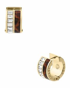 Michael Kors Tortoise/Baguette Huggie Earrings, Golden.  $95