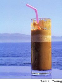 Greek-Style Frappe. I make mine with 1 tbs nescafe, 3 tbs water, 1 tspn sugar shaken into a foam and poured over either ice water or milk. Yum- perfect for a summer day.