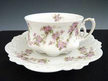 Victorian porcelain cup saucer set MZ Austria