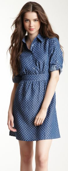 Dot chambray dress - would be cute with boots