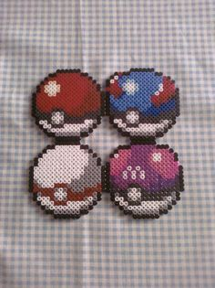 Various Pokeball Perler Bead Coasters via Etsy
