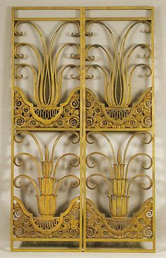 Part of four Edgar Brandt gilt-bronze panels, designed for Au Bon Marché department store, circa 1923-24: http://www.sothebys.com/en/auctions/ecatalogue/2002/20th-century-works-of-art-including-contemporary-works-of-art-n07808/lot.297.html