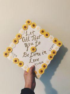Sunflower graduation cap! (1 Cor 16:14, SLP2B)